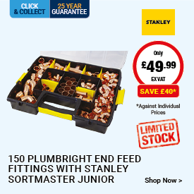 150 End Feed Fittings with Stanley Sortmaster Junior