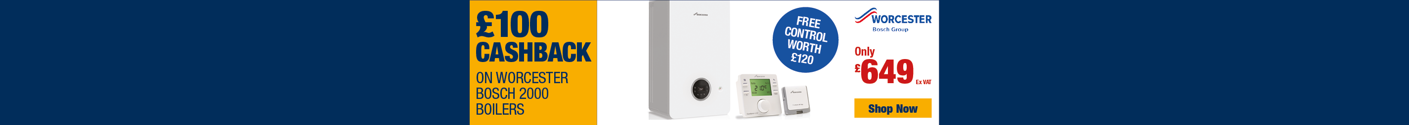 £100 Cashback on Worcester Bosch