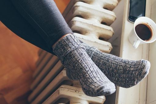 Feet on a radiator